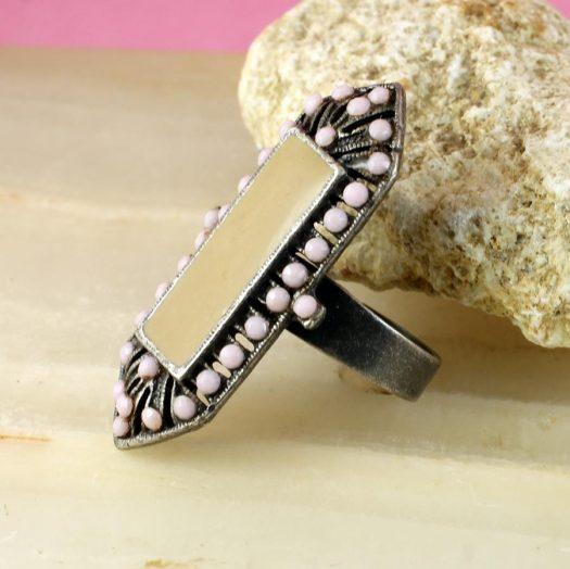 Pink & Caramel Shield Ring R-0210-b