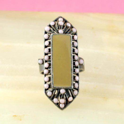 Pink & Caramel Shield Ring R-0210-c