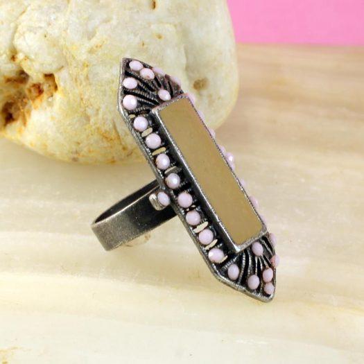 Pink & Caramel Shield Ring R-0210-e