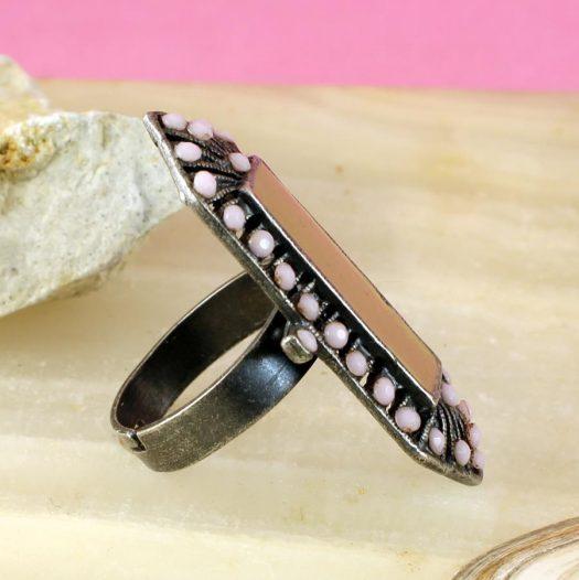 Pink & Caramel Shield Ring R-0210-f