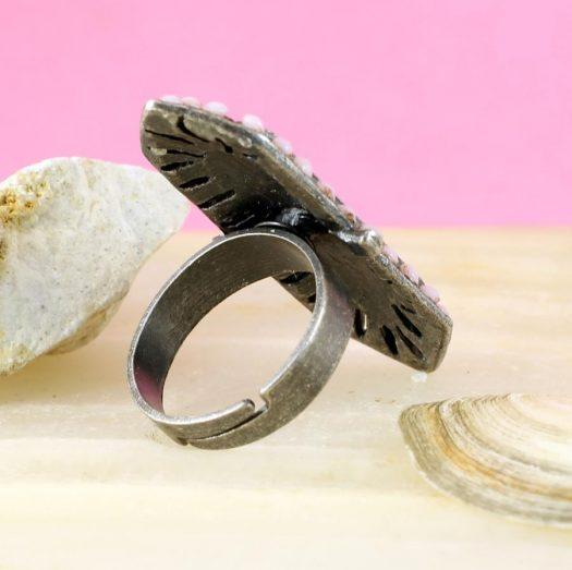 Pink & Caramel Shield Ring R-0210-g