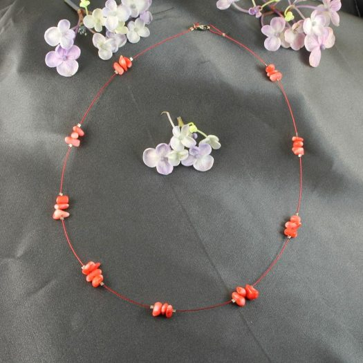 Pink Coral Chips Necklace N-0182-a
