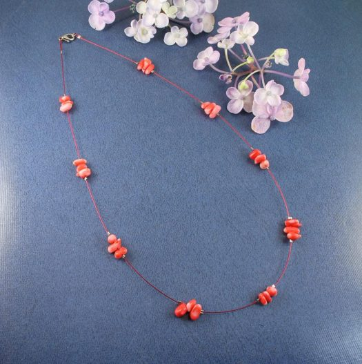 Pink Coral Chips Necklace N-0182-b