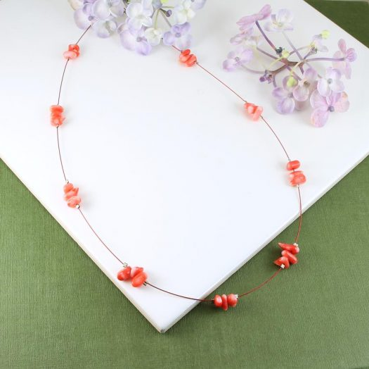 Pink Coral Chips Necklace N-0182-c