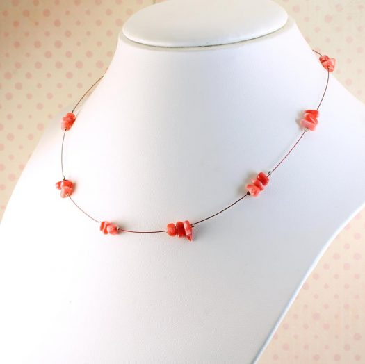 Pink Coral Chips Necklace N-0182-d