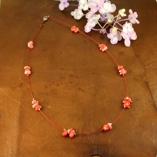 Pink Coral Chips Necklace N-0182-e