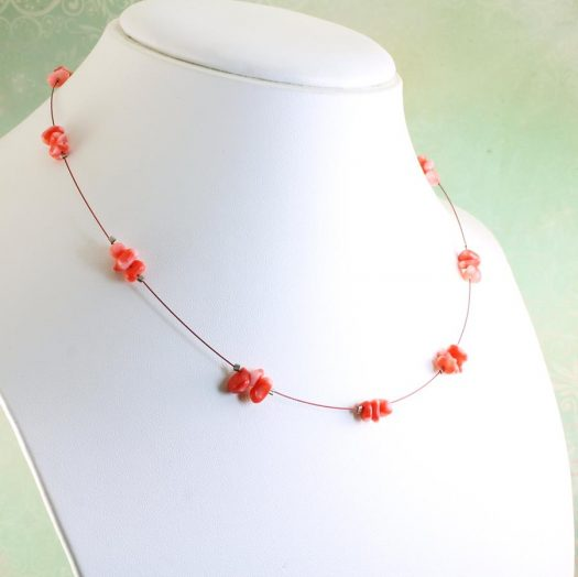 Pink Coral Chips Necklace N-0182-f