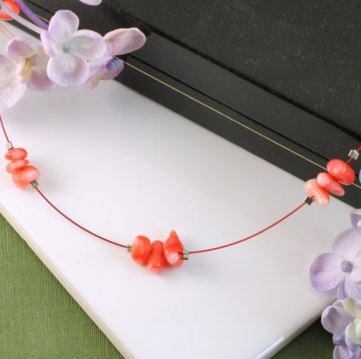 Pink Coral Chips Necklace N-0182-h