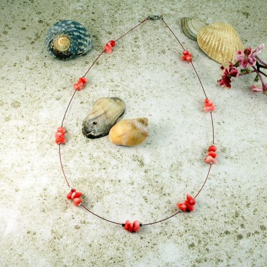 Pink Coral Chips Necklace N-0182-i