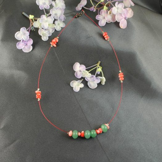 Pink-Green Chips Necklace N-0183-b