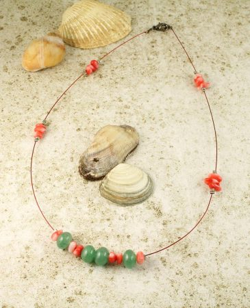 Pink-Green Chips Necklace N-0183-c