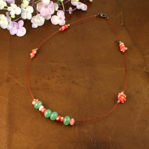 Pink-Green Chips Necklace N-0183-e