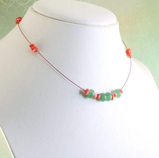 Pink-Green Chips Necklace N-0183-f