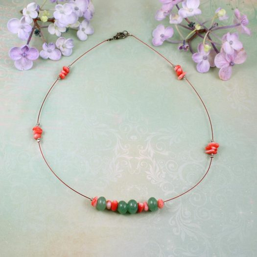 Pink-Green Chips Necklace N-0183-g