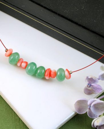 Pink-Green Chips Necklace N-0183-h