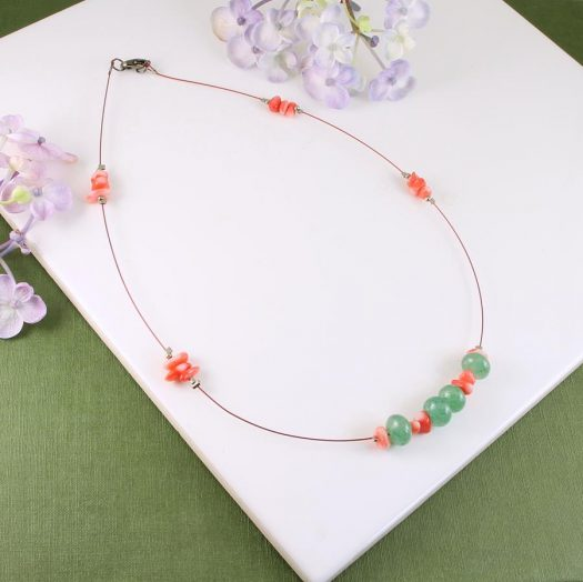 Pink-Green Chips Necklace N-0183-i