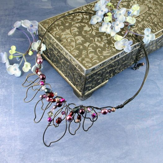 Pink Hand-Painted Pearls N-0202-a