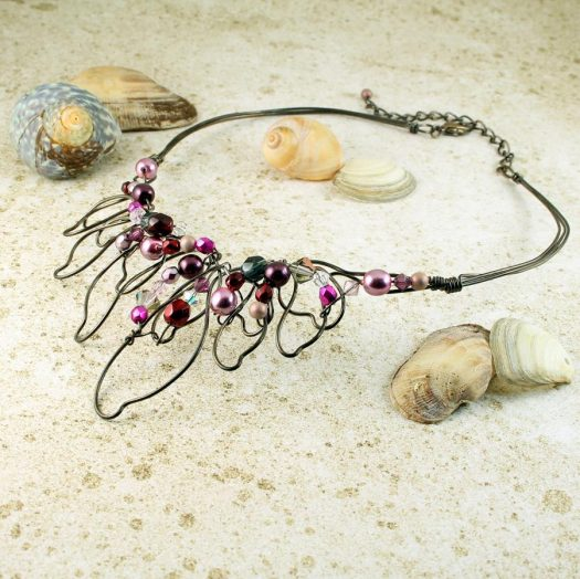 Pink Hand-Painted Pearls N-0202-e
