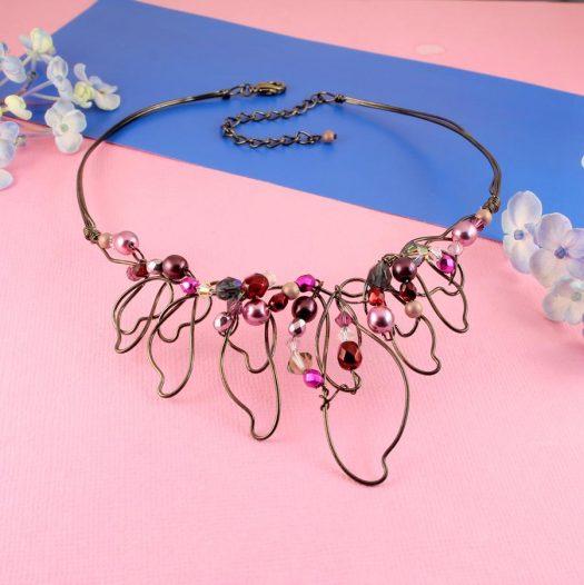 Pink Hand-Painted Pearls N-0202-g