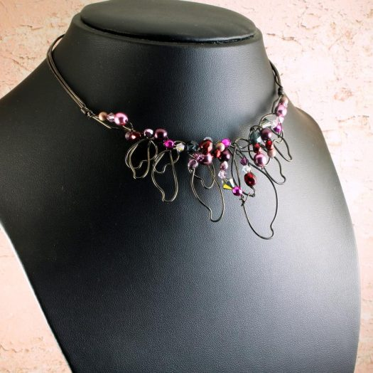 Pink Hand-Painted Pearls N-0202-k