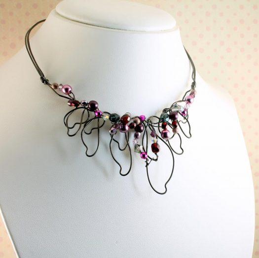 Pink Hand-Painted Pearls N-0202-l