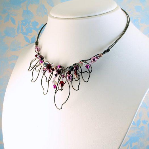 Pink Hand-Painted Pearls N-0202-m