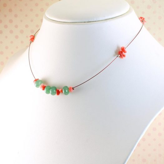 Pink-Green Chips Necklace N-0183-d