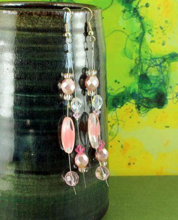 Pink Swarovski Crystal Drops E-0119-a