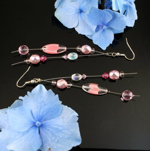 Pink Swarovski Crystal Drops E-0119-b