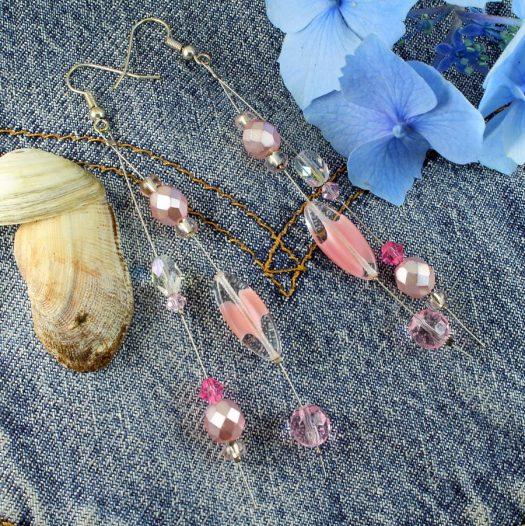 Pink Swarovski Crystal Drops E-0119-c