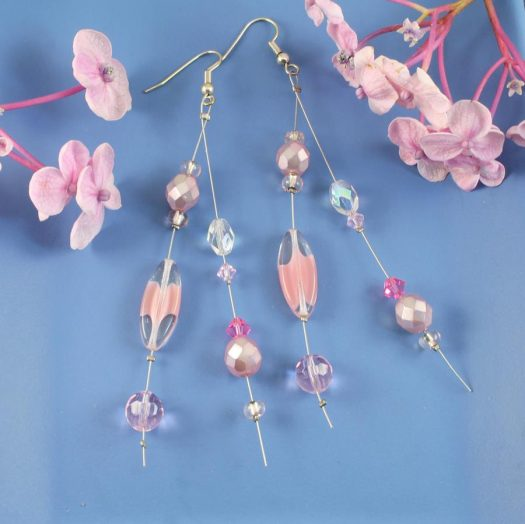 Pink Swarovski Crystal Drops E-0119-e