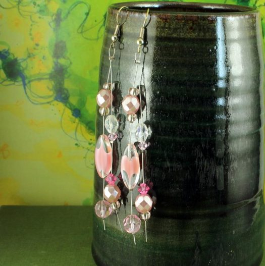 Pink Swarovski Crystal Drops E-0119-g