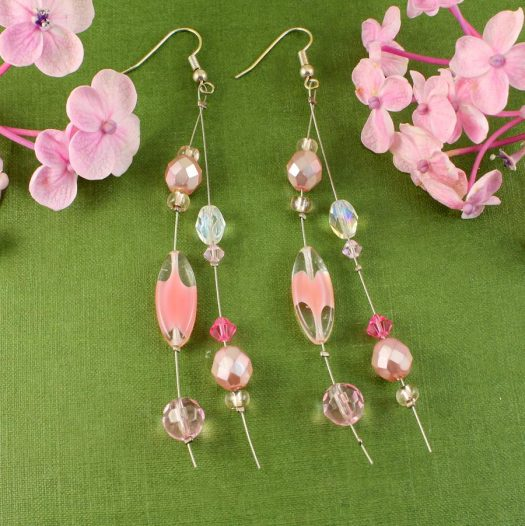 Pink Swarovski Crystal Drops E-0119-h)