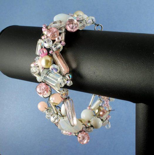 Pink Wire-Wrapped Bracelet B-0154-a