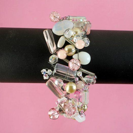 Pink Wire-Wrapped Bracelet B-0154-b