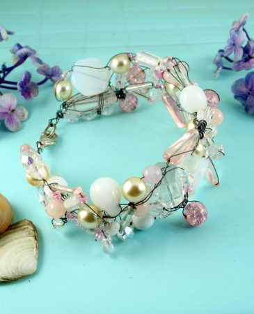 Pink Wire-Wrapped Bracelet B-0154-c