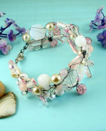 Pink Wire-Wrapped Bracelet B-0154-c