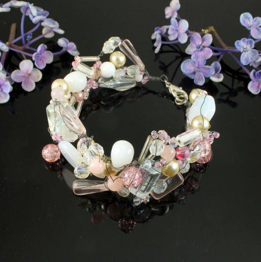 Pink Wire-Wrapped Bracelet B-0154-e
