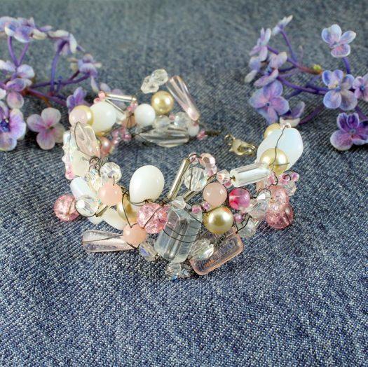 Pink Wire-Wrapped Bracelet B-0154-g