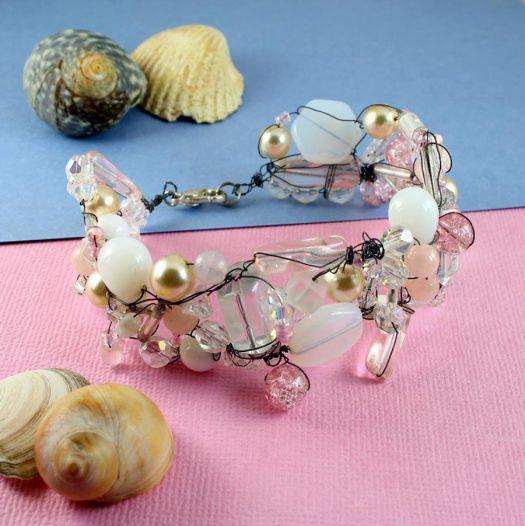 Pink Wire-Wrapped Bracelet B-0154-h