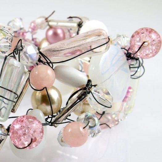 Pink Wire-Wrapped Bracelet B-0154-m