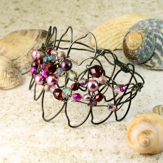Pink Wire-Wrapped Pearls B-0158-a