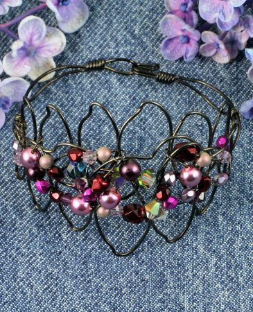 Pink Wire-Wrapped Pearls B-0158-b