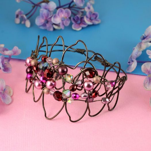 Pink Wire-Wrapped Pearls B-0158-c