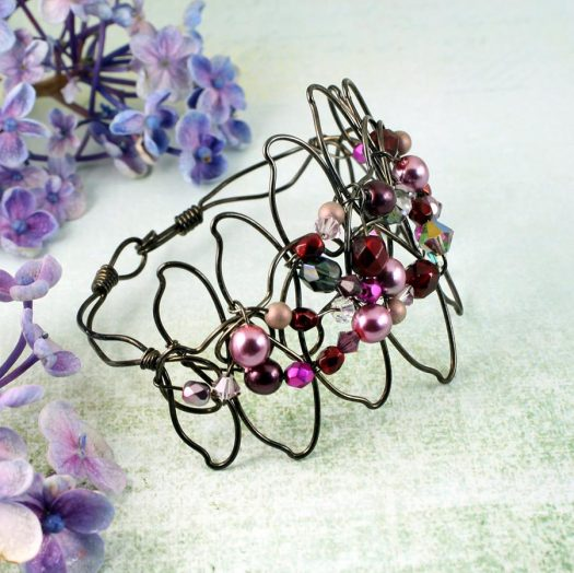 Pink Wire-Wrapped Pearls B-0158-d