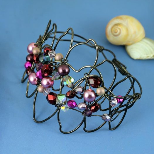 Pink Wire-Wrapped Pearls B-0158-e