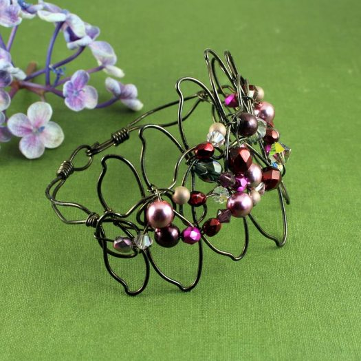 Pink Wire-Wrapped Pearls B-0158-g