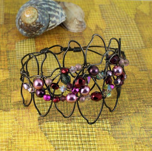 Pink Wire-Wrapped Pearls B-0158-h