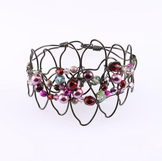 Pink Wire-Wrapped Pearls B-0158-j