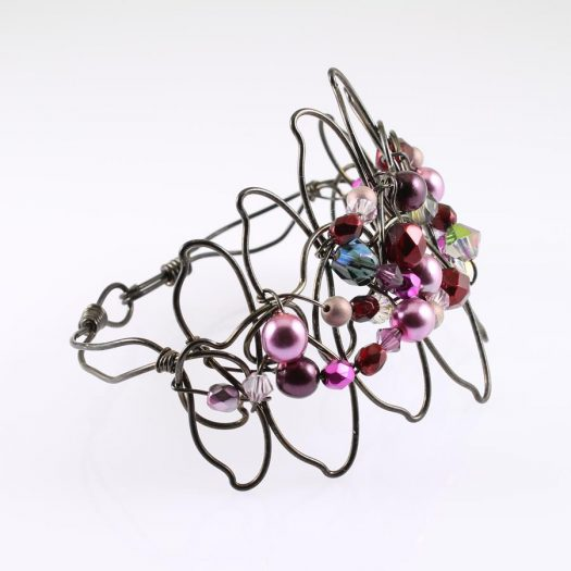 Pink Wire-Wrapped Pearls B-0158-k